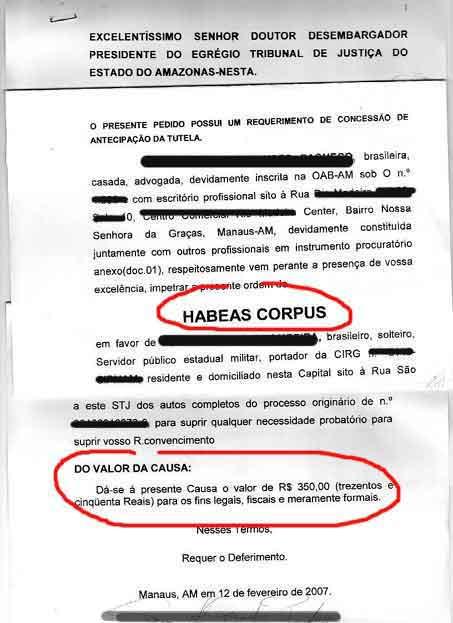 habeas corpus modelo: